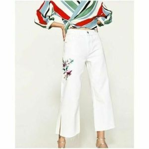 Zara Boho White Wide Leg Embroidered Jeans 0